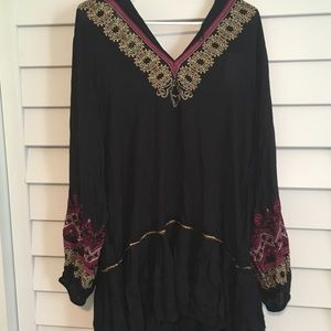 NWT Free People embroidered drop-waist dress